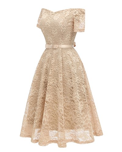 Retro 1940s Gown Ball Vintage Cd1602 Swing Women's Dress Beige Flared Ouxiuli Skaters AwFqXE1xc