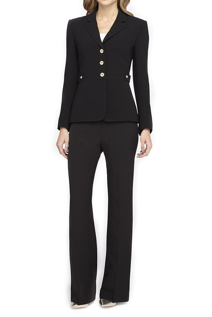Tahari Golden Button Crepe Pantsuit - Black - 10