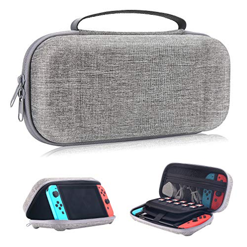 Moretek Compatible with Nintendo Switch Carrying Case EVA Hard Shell Travel Protective Cases for Nintendo Switch Game Console & Accessories (Nyloy Grey) from MORETEK