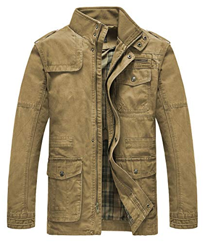 Heihuohua Men's Field Jacket Cotton Stand Collar Lightweight Military - Mens Jacket Field