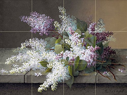branch-of-lilacs-by-raoul-de-longpre-tile-mural-kitchen-bathroom-wall-backsplash-behind-stove-range-