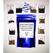 Virgin Seed Supply 10 Herb Variety Seed Pack 7,000 Herb Seeds Cilantro Basil Thyme Parsley Chives Cumin Mustard Lemon Mint Oregano Dill -Non-GMO Organic Heirloom