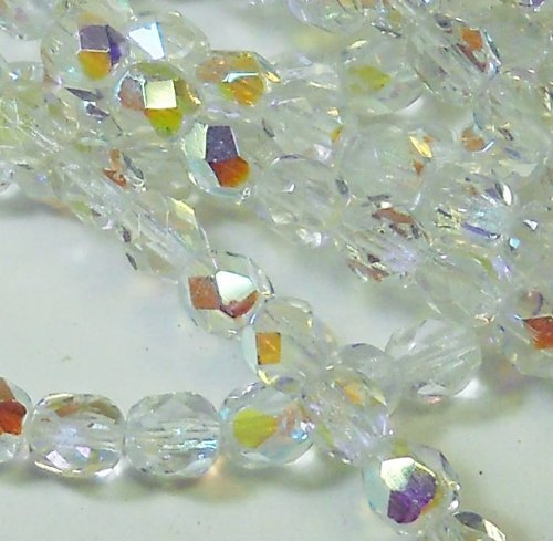300 Czech Faceted Round Firepolished 6mm Crystal Ab Glass Beads 1/4 Mass Fire Polished