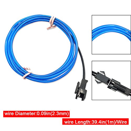 Ourbest El Wire Blue Bright with Battery Pack 3ft Neon Light Wire ...
