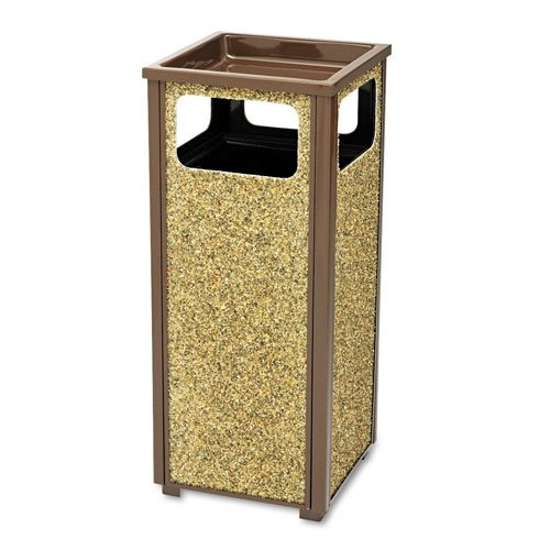 Rubbermaid Steel Stone Panel Receptacle - Combination Trash Receptacle/Sand Urn - 12-Gallon Capacity - Brown Frame/Desert Brown Panels