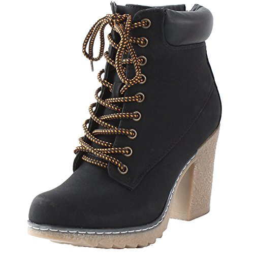 Nature Breeze Forest-01 Women's Mid Calf Lace Up Fold Over Ankle Lug Bootie Black 9.0