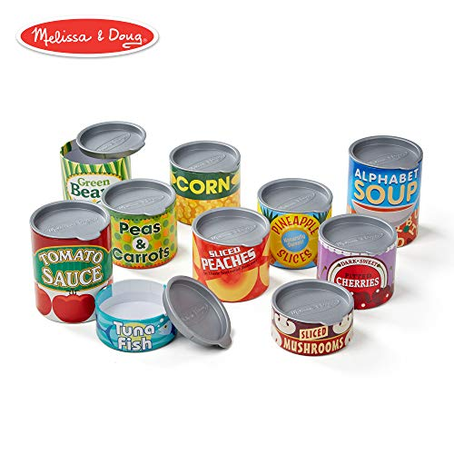 (Melissa & Doug Let's Play House! Grocery Cans, Pretend Play, Pop-Off Lids, Sturdy Cardboard construction, 10 Cans, 13
