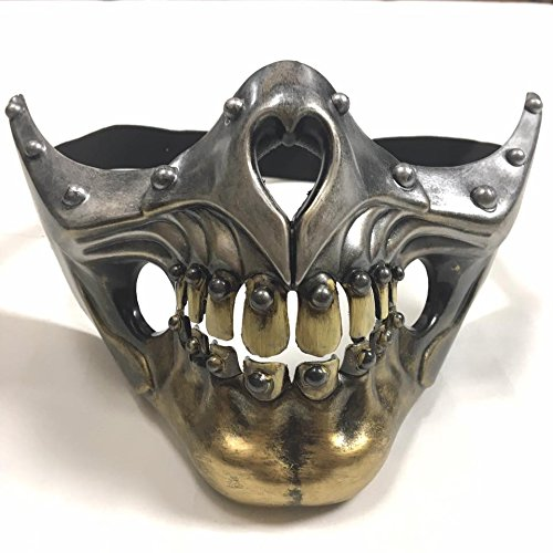 KB 2017 Dopest Skull Steampunk Bottom Half Face Unisex Masquerade Mask - Silver & Gold -