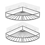 ODesign Adhesive Corner Bathroom Shelf Storage Wall Mounted Shower Caddy Shelf Organizer for Kitchen Toilet SUS 304 Stainless Steel No Drilling - 2 Pack