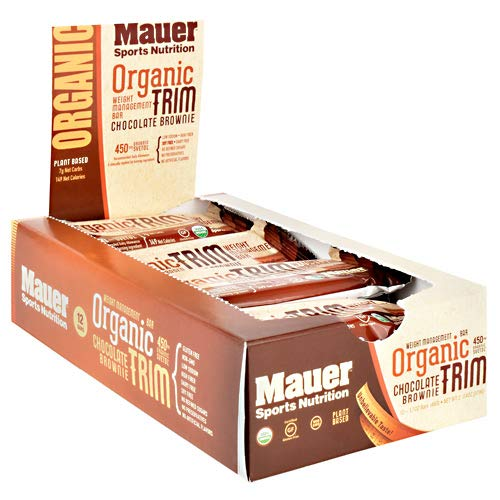 Mauer Sports Nutrition Organic Trim Weight Management Bar, Chocolate Brownie, 12 Count