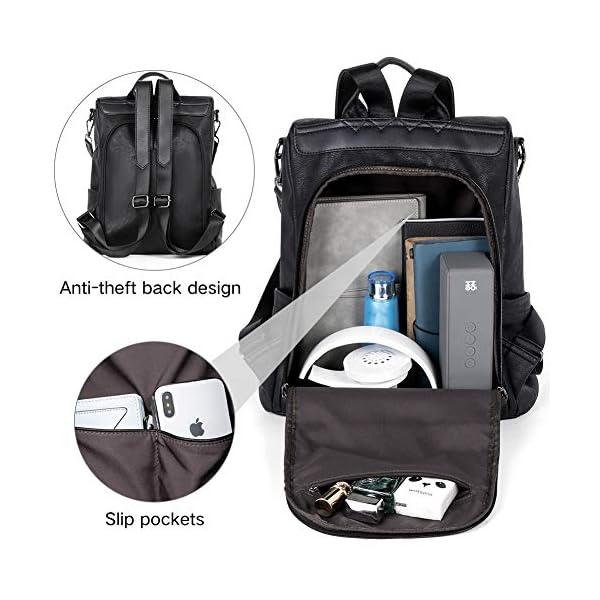 BROMEN Women Backpack Purse Leather Anti-theft Travel Backpack Fashion Shoulder Handbag 5