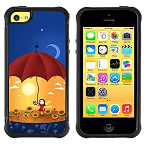 "Pulsar iFace Series Tpu silicona Carcasa Funda Case para Apple iPhone 5C , Arte Umbrella Sun Flowers Yellow Moon"""