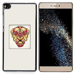 "Qstar Arte & diseño plástico duro Fundas Cover Cubre Hard Case Cover para Huawei Ascend P8 (Not for P8 Lite) (Perro psicodélico"")"