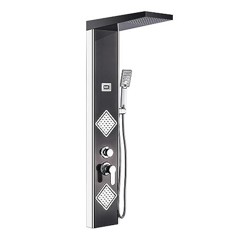 Auralum - Columna de Hidromasaje Ducha Negro Multifoctionnel con Pantalla LCD | Panel de Ducha Hidromasaje Acero Inoxidable con 2 Boquillas de Masaje