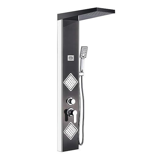 Auralum Columna Ducha de hidromasaje de Acero Inoxidable con Termostato para Bañera y Ducha (Set de Ducha D)