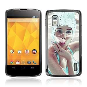 CQ Tech Phone Accessory: Carcasa Trasera Rigida Aluminio para LG Nexus 4 E960 - Elegant Woman Smoking