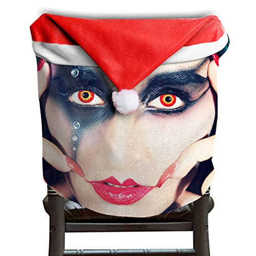 EDYE Cool Halloween Red Lips Black Eye Shadow Orange Pupil Girl Christmas Xmas Themed Dinning Seat Chair Cap Hat Covers Ornaments for Backers Slipcovers Wraps Coverings Decorations Protector Set ()