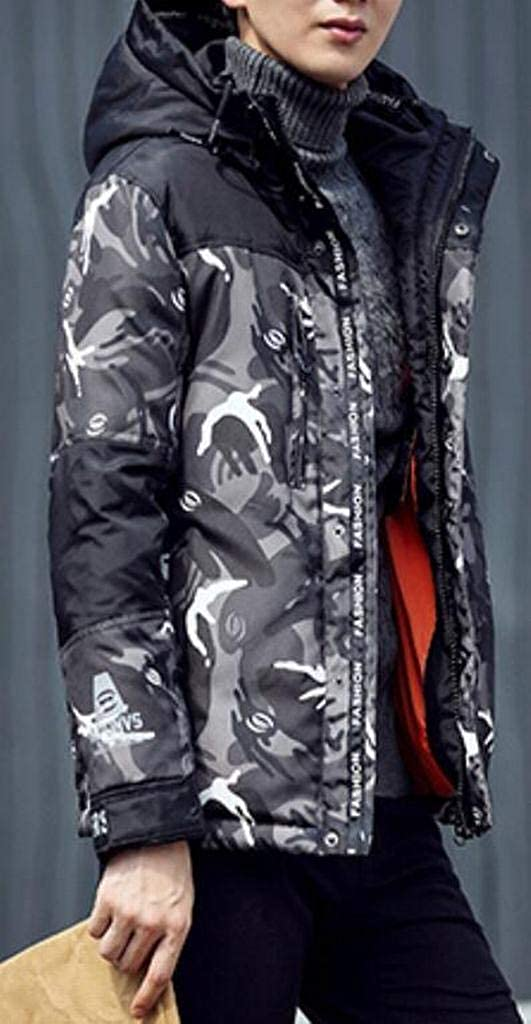 SHOWNO Mens All Trendy Slim Thicken Warm Camo Quilted Hooded Down Coat