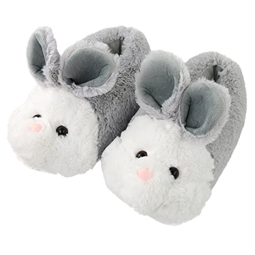 Komyufa Women Memory Foam House Slippers Cozy Animal Home Slipper Indoor Outdoor (S/ 5-6.5 B(M) US, Grey Bunny)