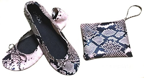 Shoes8teen Skor 18 Kvinnor Vikbara Bärbara Resa Balett Platta Skor W / Matchande Bärväska Orm Rodna