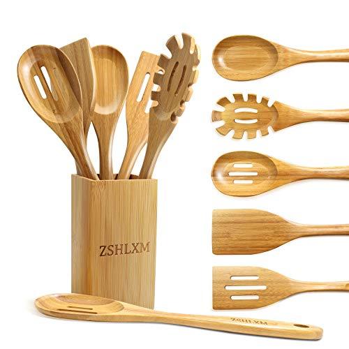 Kitchen Utensils Set Cooking Utensils Set Smooth Surface 6 Pcs Bamboo Kitchen Utensils Set with Holder More Durable than…