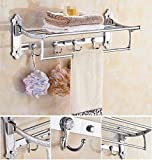 GL&G European luxury Silver Bathroom Bath Towel Rack Double Towel Bar Bathroom Accessories Bathroom Storage Organizer Shelf Bathroom Shelf Shower Wall Mount Holder Towel Bars,6023.513.5cm