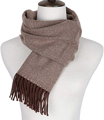 Runtlly Men's Winter Scarf Soft Classic Cashmere Feel Scarves Unisex 9-5 Brown