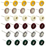 WiMas 30PCS Polishing Pad Abrasive Buffing Wheel Brushes Mixed Set Steel Wire Brush Wool Wheels for Dremel Rotary Tool