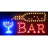 Led Neon Open Signs Decor for Business Mart Shop Store Bar Cafe Now Open Sign Display On/Off Switch + Chain (19'' Lx 10''W(Square ''Bar''))