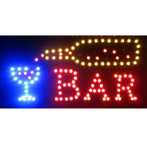 Led Neon Open Signs Decor for Business Mart Shop Store Bar Cafe Now Open Sign Display On/Off Switch + Chain (19'' Lx 10''W(Square ''Bar'')) by Boshen