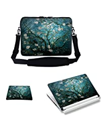 Meffort Inc 17 17.3 inch Laptop Carrying Sleeve Bag Case with Hidden Handle & Adjustable Shoulder Strap with Matching Skin Sticker and Mouse Pad Combo - Vincent van Gogh Almond Blossoming