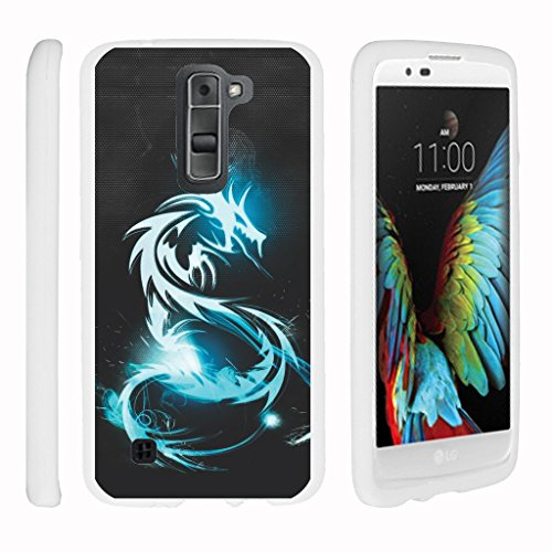 Miniturtle® [LG K8 Case, LG Escape 3 White Case][Snap Shell] 2 Piece White Design Case, Perfect Fit Hard Rubberized Cover - Demon Cyborg (Cyborg Tattoo)