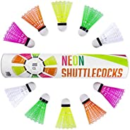 Neon Plastic Shuttlecocks   10-Count of Highly-visible, Brightly-colored Badminton Birdies in Ultra-neon Pink,