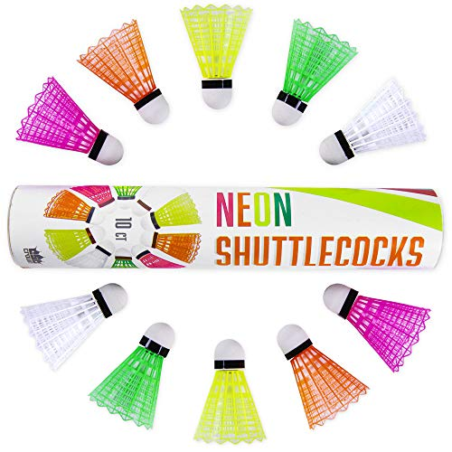 Neon Plastic Shuttlecocks | 10-Count of Highly-visible, Brightly-colored Badminton Birdies in Ultra-neon Pink, Green, Orange, Yellow, and White | Durable Nylon and Plastic Materials