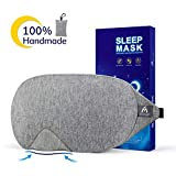 Cotton Sleep Eye Mask - 2019 New Design Light Blocking Sleep Mask, Includes Travel Pouch, Soft, Comfortable, Blindfold, 100% Handmade, Best Blinder for Travel/Sleeping/Shift Work/Meditation, Grey