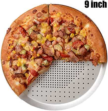 Perforated Pizza Pan 9 Inch, Non-stick Vented Pizza Baking Tray With Holes, Round Pizza Oven Tray Tools Kitchen Cooking Pan Kitchen Accessories (9 Inch - Holes)
