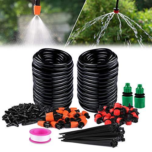 Philonext Garden Irrigation System,Drip Irrigation,DIY Saving Water Automatic Irrigation Equipment Set Suit for Garden Greenhouse, Flower Bed,Patio,Lawn