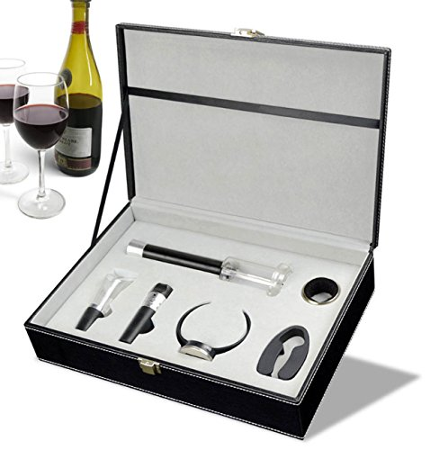 Air Pump Pressure Wine Opener,Wine Opener+Foil Cutter+Vacuum Stopper+Pourer+Wine Drip Stop Collar Ring+Wine Thermometer,Professional Wine Accessories For Wine Lovers Business Gifts (Corkscrew Thermometer)