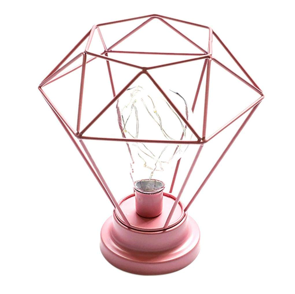 Sonmer Creative Diamond Iron Frame Photography Prop Desk Lamp, for Bedroom Decoration (Pink)