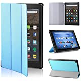 LTROP Protective Case for All-New Fire HD 10 Tablet 2017 (7th Generation, 2017 Release), Slim Folding Stand Cover Case with Auto Wake/Sleep for Amazon Fire HD 10.1 inch Tablet - Sky Blue
