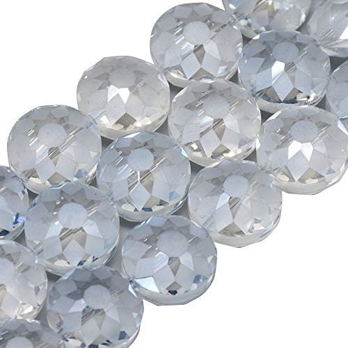 PandaHall About 100Pcs 14mm Electroplate Glass Beads Faceted Flat Round Beads Briollete Rainbow Plated Clear Crystal Bead for Jewelry Making, Hole: ()