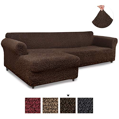 (Sectional Sofa Cover - Sectional Couch Covers - L Couch Cover - Cotton Fabric Slipcovers - 1-piece Form Fit Stretch Furniture Slipcover - Mille Righe Collection - Brown (Left Chase))