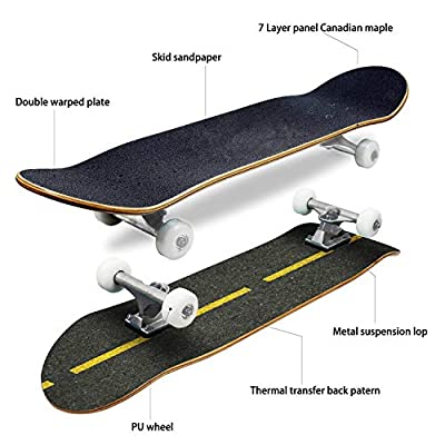 EFTOWEL Skateboards Lined Asphalt Roadway Background Asphalt Road Stock Pictures Royalty Classic Concave Skateboard Cool Stuff Teen Gifts Longboard Extreme Sports for Beginners and Professionals : Sports & Outdoors