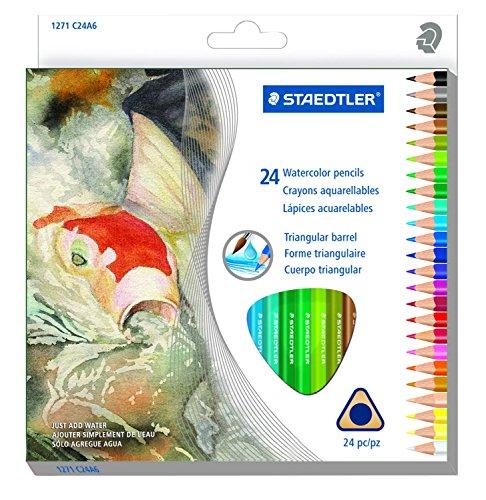Staedtler Presharpened Watercolor Pencils, Ergonomic Art Set, Box of 12 Triangular Colored Pencils