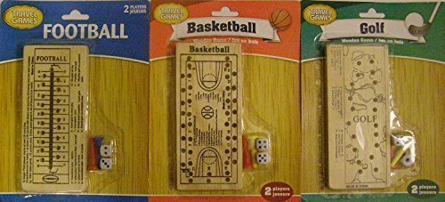 Bundle of 3 Travel Games Including: Football, Basketball, & Golf (Wooden Game Boards with Pegs and Dice)