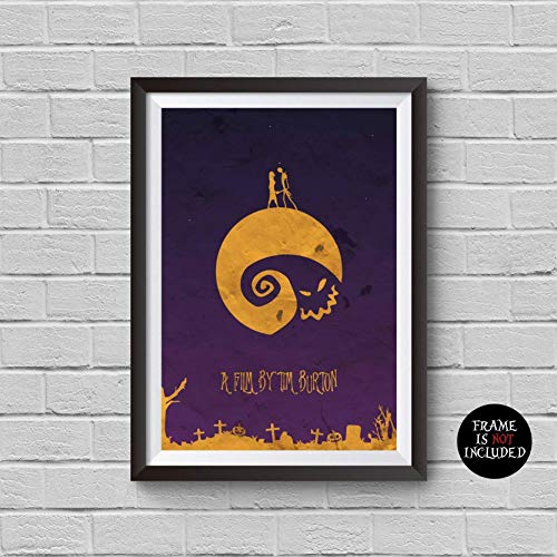 The Nightmare Before Christmas Minimalist Poster Tim Burton Alternative Movie Print Halloween Vintage Pop Culture and Modern Home Decor Cinema Poster Artwork Wall Art Wall Hanging Cool Gift ()