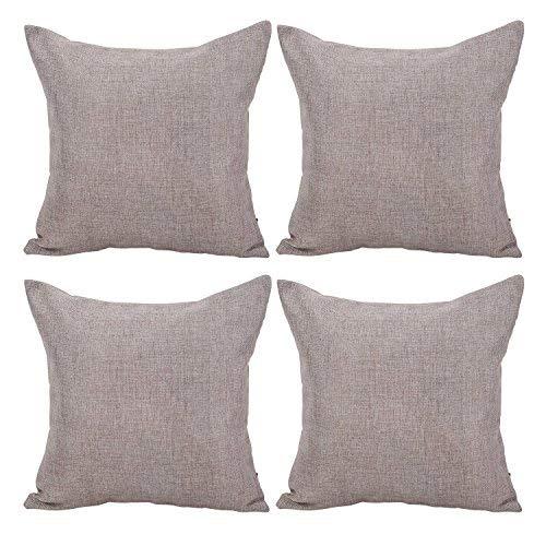 Deconovo Fundas de Cojín Almohada Suave 45 x 45 cm para Cama en Dormitorio de Color Sólido Efecto Lino 4 Piezas Gris Topo