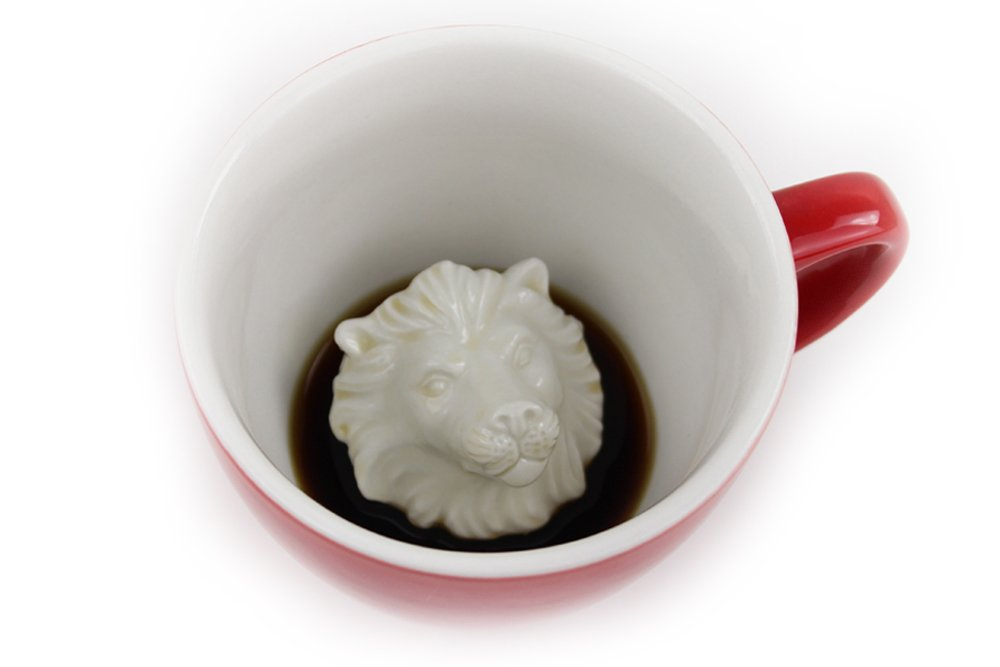 CREATURE CUPS Lion Ceramic Cup (11 Ounce, Red) | Hidden Animal Inside | Holiday and Birthday Gift for Coffee & Tea Lovers
