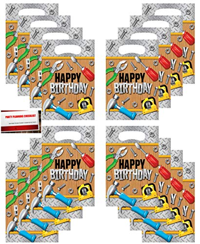 (16 Pack) Handyman Under Construction Zone Birthday Party Plastic Loot Treat Candy Favor Bags (Plus Party Planning Checklist by Mikes Super -