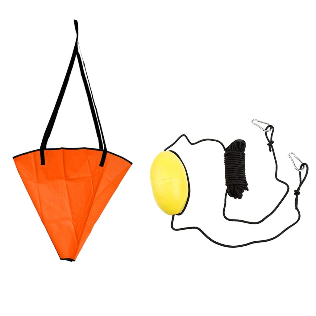 DeemoShop 18' Sea Anchor Drogue + 30ft PVC Kayak Drift Anchor Tow Rope Tow Line Throw Line for Fishing Canoe Inflatable Boat Dinghy Yacht by DeemoShop